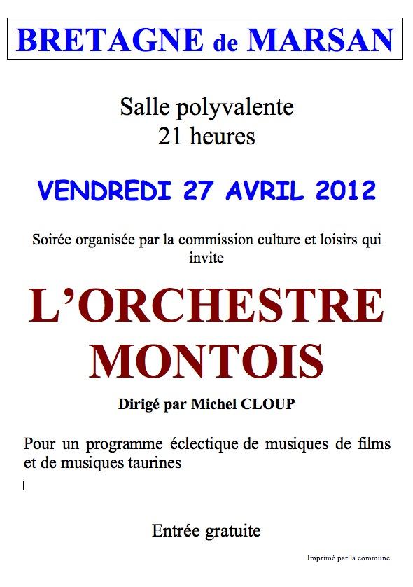 Affiche Concert Orchestre Montois à Bretagne de Marsan
