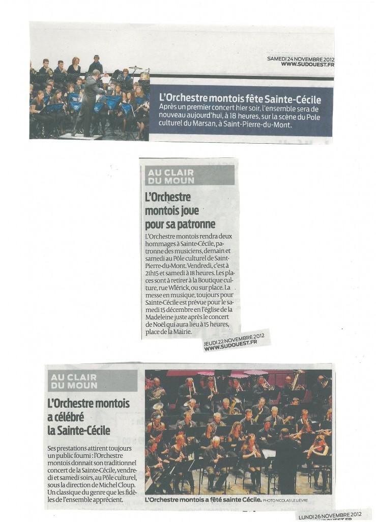 Articles Sud Ouest Sainte Cécile 2012